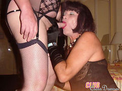 Crossdressing sluts showing their hard cocks and sucking some dick