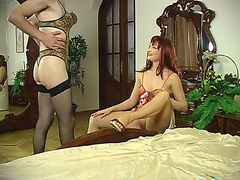 Sissy guy fits on various dresses before strap-on entertainment with a babe