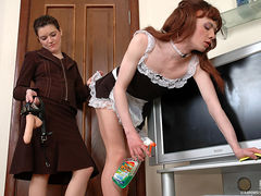 Sissy maid in uniform ready for overtime work jumping on a babe's strap-on