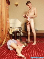 Hot guy sniffing and wearing tights before getting down and dirty on floor