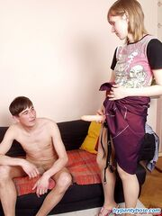 Horny guy in lacy hose swallowing gal