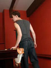 Filthy guy in sheer-to-waist hose revealing his sex fever in billiard room